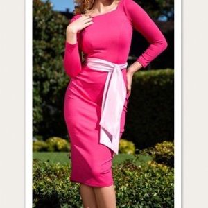 PinUp Couture Pink Maria Stretch Wiggle  Dress